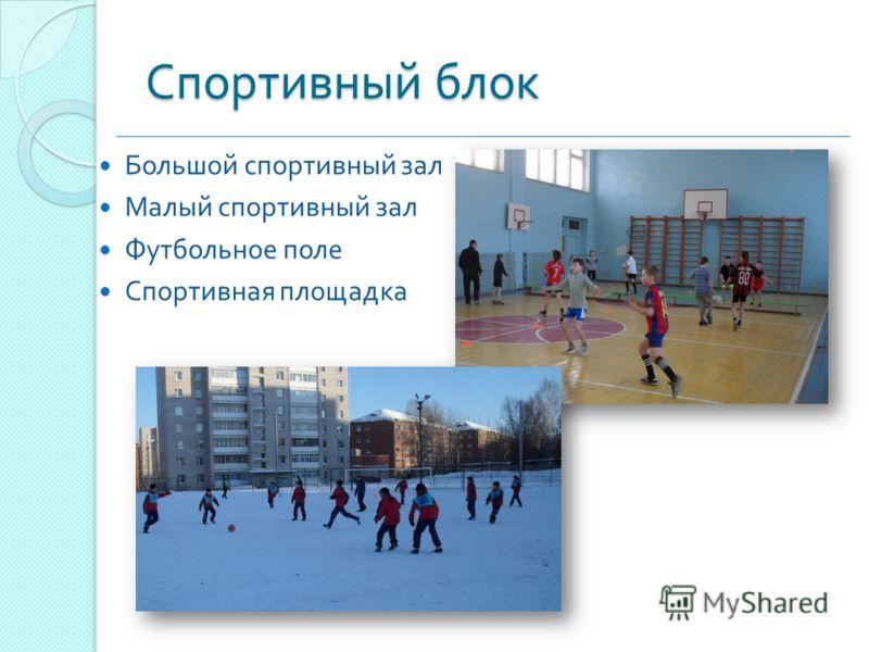 Спортивный блок Большой спортивный зал Малый спортивный зал Футбольное поле Спортивная площадка