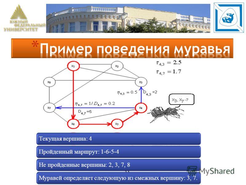 13 Текущая вершина: 4Пройденный маршрут: 1-6-5-4Не пройденные вершины: 2, 3, 7, 8Муравей определяет следующую из смежных вершину: 3, 7.