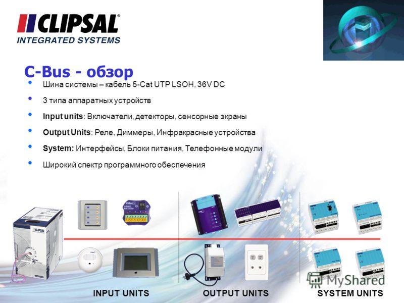 C-Bus - обзор Шина системы – кабель 5-Cat UTP LSOH, 36V DC 3 типа аппаратных устройств Input units: Включатели, детекторы, сенсорные экраны Output Units: Реле, Диммеры, Инфракрасные устройства System: Интерфейсы, Блоки питания, Телефонные модули Широ