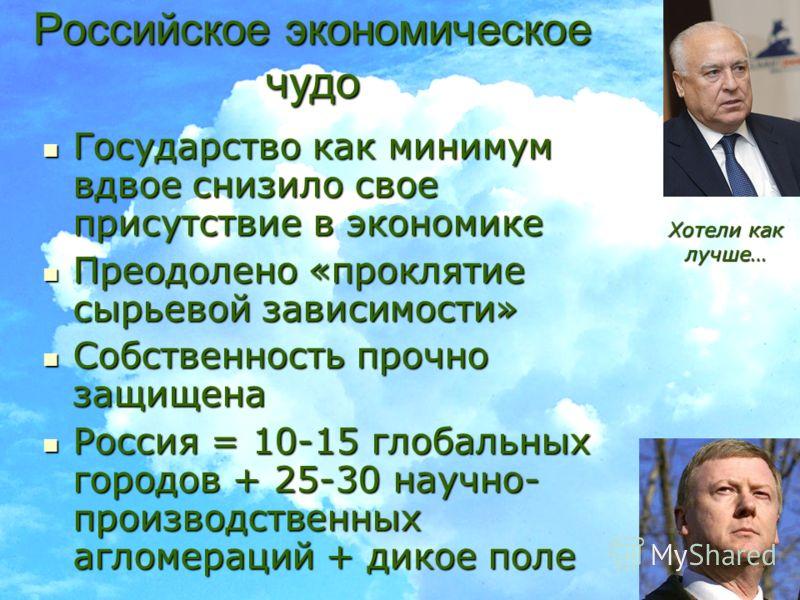 18 Российское экономическое чудо Государство как минимум вдвое снизило свое присутствие в экономике Государство как минимум вдвое снизило свое присутствие в экономике Преодолено «проклятие сырьевой зависимости» Преодолено «проклятие сырьевой зависимо
