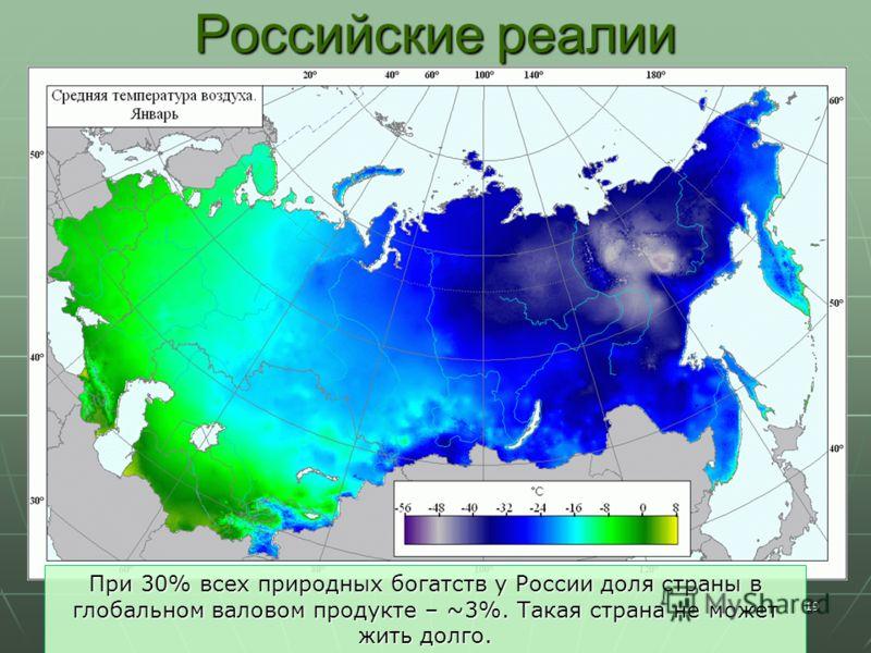 19 Российские реалии При 30% всех природных богатств у России доля страны в глобальном валовом продукте – ~3%. Такая страна не может жить долго.