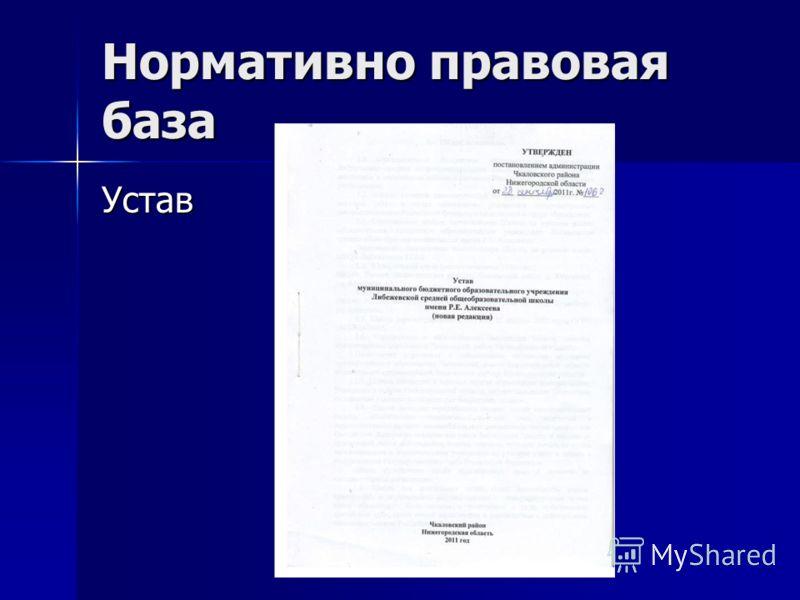 Нормативно правовая база Устав