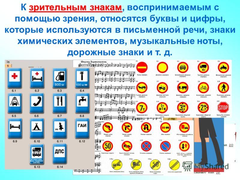 зрительным знакам К зрительным знакам, воспринимаемым с помощью зрения, относятся буквы и цифры, которые используются в письменной речи, знаки химических элементов, музыкальные ноты, дорожные знаки и т. д.