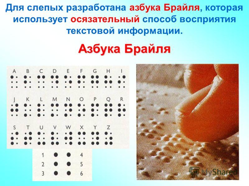 Для слепых разработана азбука Брайля, которая использует осязательный способ восприятия текстовой информации. Азбука Брайля