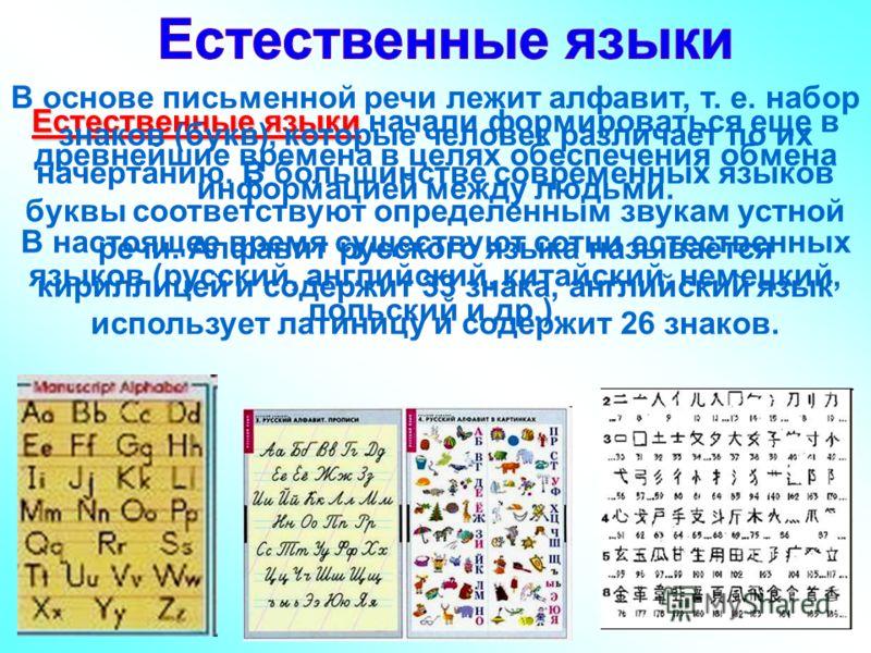Естественные языки Естественные языки начали формироваться еще в древнейшие времена в целях обеспечения обмена информацией между людьми. В настоящее время существуют сотни естественных языков (русский, английский, китайский, немецкий, польский и др.)