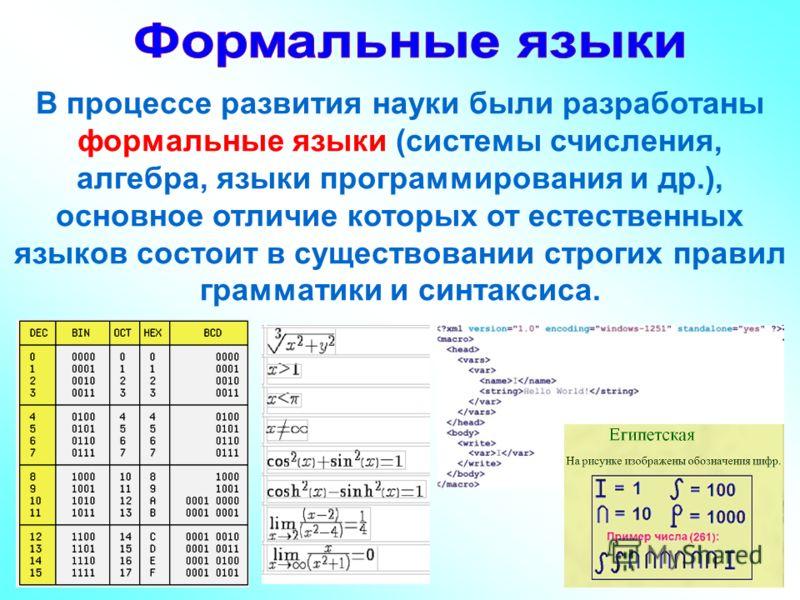 В процессе развития науки были разработаны формальные языки (системы счисления, алгебра, языки программирования и др.), основное отличие которых от естественных языков состоит в существовании строгих правил грамматики и синтаксиса.