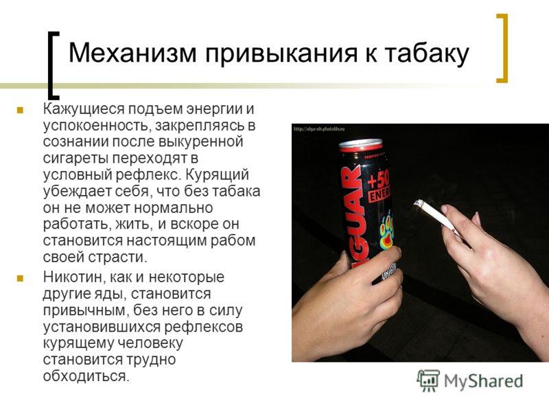 Механизм привыкания к табаку Кажущиеся подъем энергии и успокоенность, закрепляясь в сознании после выкуренной сигареты переходят в условный рефлекс. Курящий убеждает себя, что без табака он не может нормально работать, жить, и вскоре он становится н