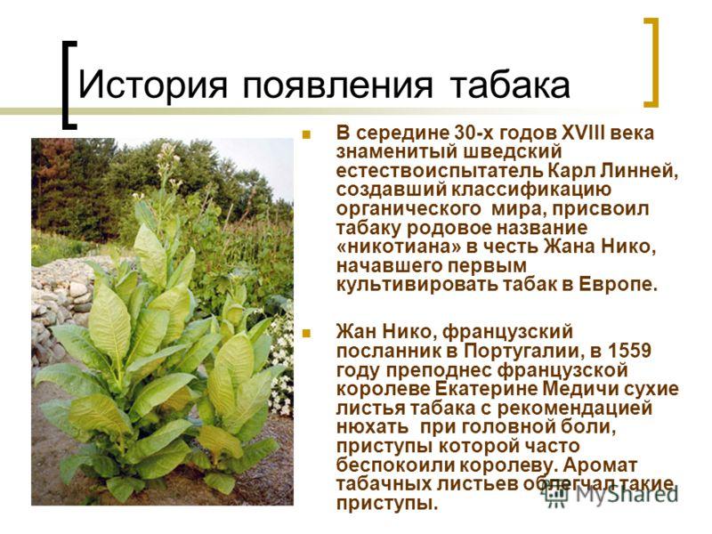 В середине 30-х годов XVIII века знаменитый шведский естествоиспытатель Карл Линней, создавший классификацию органического мира, присвоил табаку родовое название «никотиана» в честь Жана Нико, начавшего первым культивировать табак в Европе. Жан Нико,