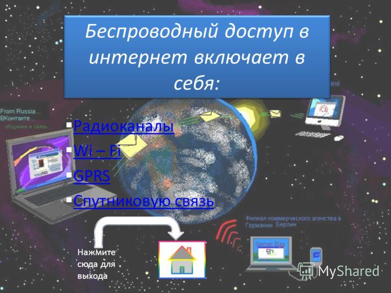 Радиоканалы Wi – Fi GPRS Спутниковую связь Беспроводный доступ в интернет включает в себя: Нажмите сюда для выхода