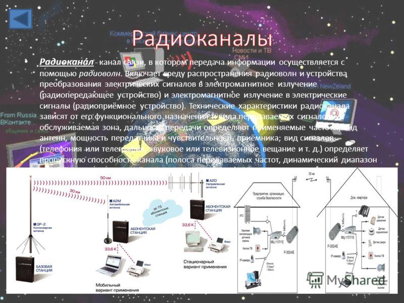 Радиокана́л - канал связи, в котором передача информации осуществляется с помощью радиоволн. Включает среду распространения радиоволн и устройства преобразования электрических сигналов в электромагнитное излучение (радиопередающее устройство) и элект