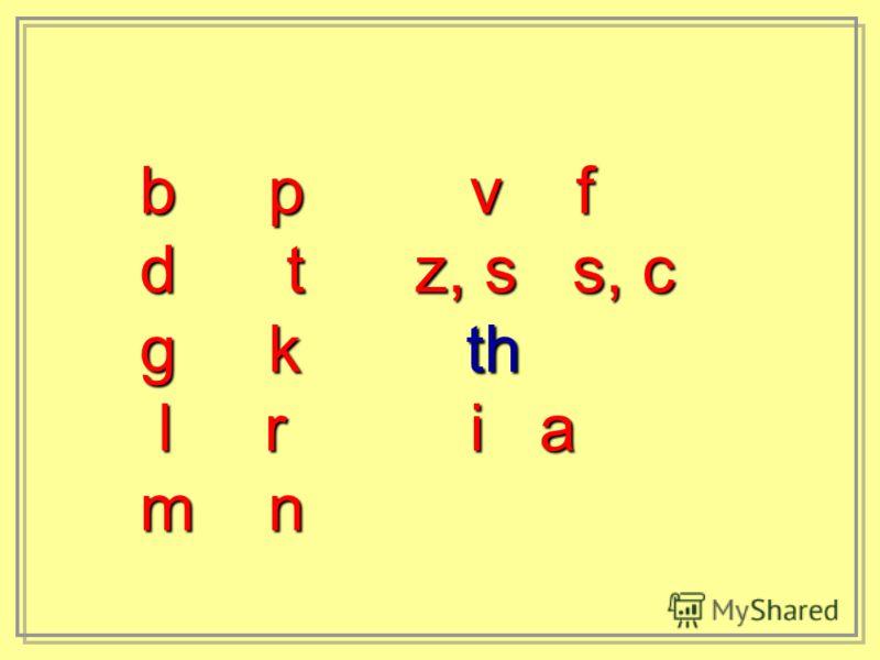b p v f d t z, s s, c g k th l r i a l r i a m n