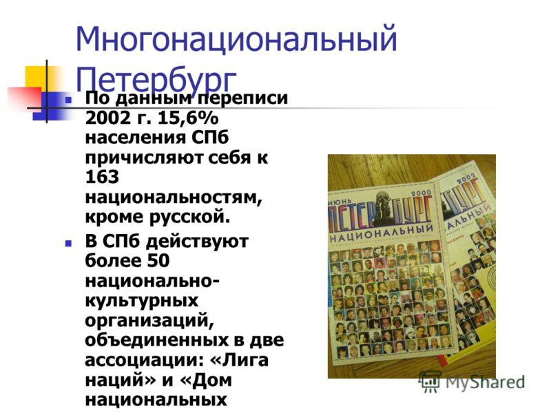 Многонациональный Петербург По данным переписи 2002 г. 15,6% населения СПб причисляют себя к 163 национальностям, кроме русской. В СПб действуют более