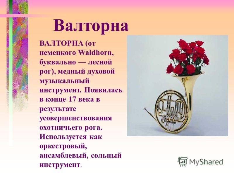 ВАЛТОРНА (от немецкого Waldhorn, буквально лесной рог), медный духовой музыкальный инструмент. Появилась в конце 17 века в результате усовершенствования охотничьего рога. Используется как оркестровый, ансамблевый, сольный инструмент. Валторна