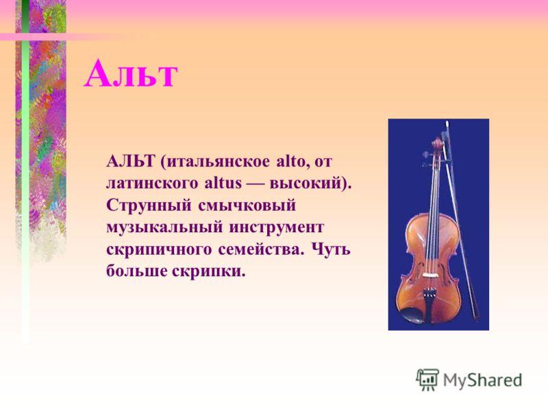 АЛЬТ (итальянское alto, от латинского altus высокий). Струнный смычковый музыкальный инструмент скрипичного семейства. Чуть больше скрипки. Альт