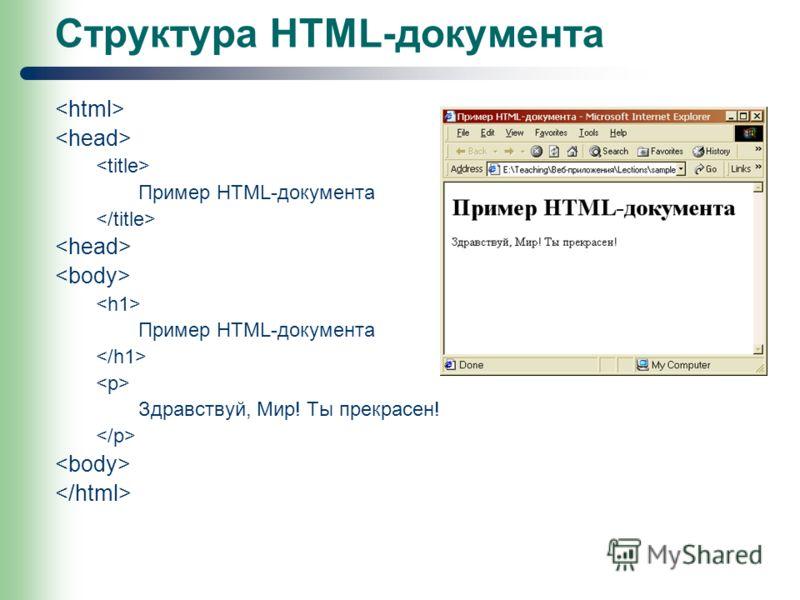 Структура HTML-документа Пример HTML-документа Пример HTML-документа Здравствуй, Мир! Ты прекрасен!