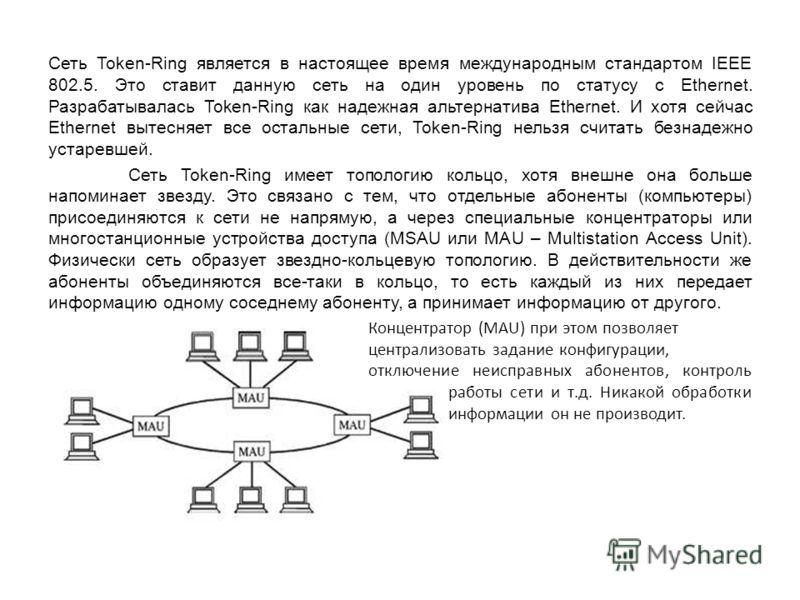 Сеть Token-Ring является в настоящее время международным стандартом IEEE 802.5. Это ставит данную сеть на один уровень по статусу с Ethernet. Разрабатывалась Token-Ring как надежная альтернатива Ethernet. И хотя сейчас Ethernet вытесняет все остальны