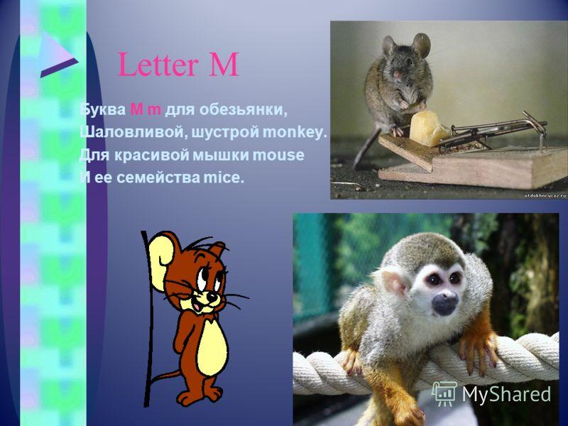 Letter М Буква M m для обезьянки, Шаловливой, шустрой monkey. Для красивой мышки mouse И ее семейства mice.
