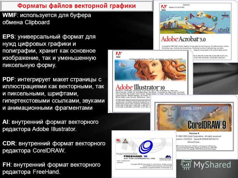 WMF: используется для буфера обмена Clipboard EPS: универсальный формат для нужд цифровых графики и полиграфии, хранит как основное изображение, так и уменьшенную пиксельную форму. PDF: интегрирует макет страницы с иллюстрациями как векторными, так и