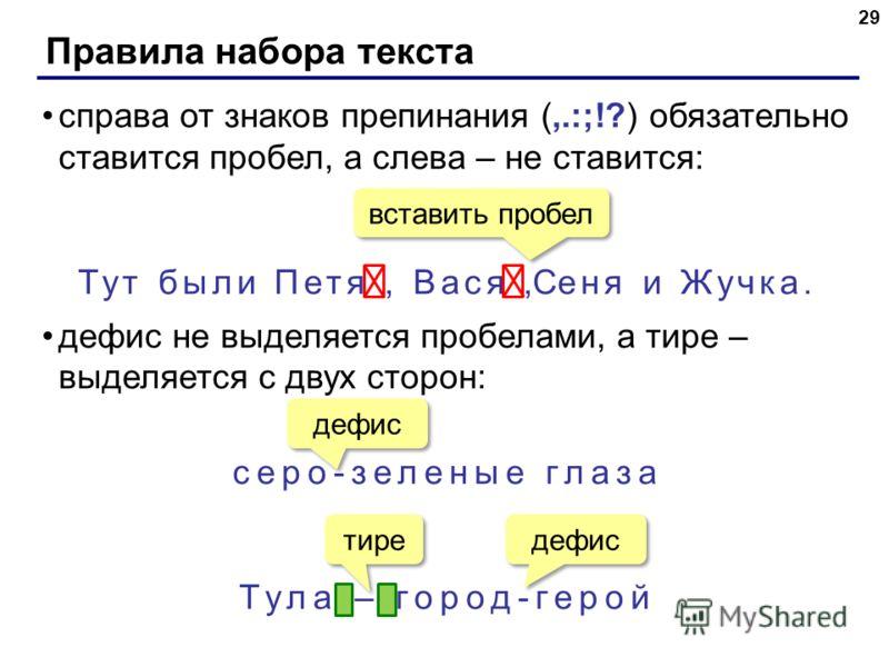 Правила набора текста 29 справа от знаков препинания (,.:;!?) обязательно ставится пробел, а слева – не ставится: Тут были Петя, Вася,Сеня и Жучка. дефис не выделяется пробелами, а тире – выделяется с двух сторон: серо-зеленые глаза Тула – город-геро