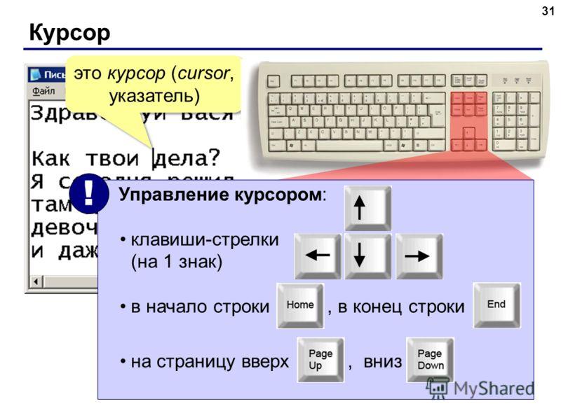 Курсор 31 это курсор (cursor, указатель) Управление курсором: клавиши-стрелки (на 1 знак) в начало строки, в конец строки на страницу вверх, вниз !