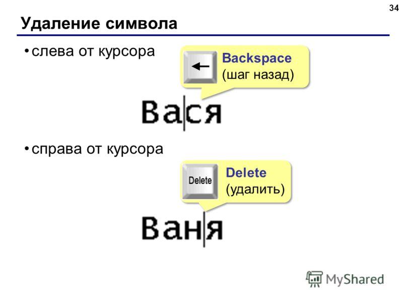 Удаление символа 34 слева от курсора справа от курсора Delete (удалить) Delete (удалить) Backspace (шаг назад) Backspace (шаг назад)