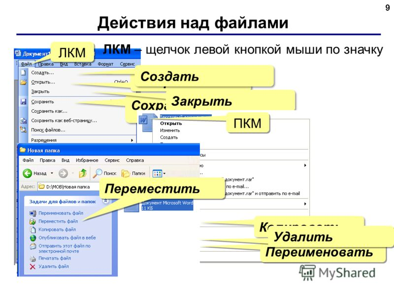 Действия над файлами 9 Сохранить Открыть Создать Закрыть Копировать Переименовать Удалить ЛКМ Переместить ЛКМ – щелчок левой кнопкой мыши по значку ПКМ