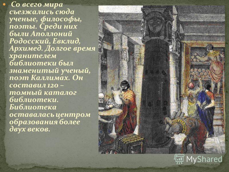 Со всего мира съезжались сюда ученые, философы, поэты. Среди них были Аполлоний Родосский, Евклид, Архимед. Долгое время хранителем библиотеки был знаменитый ученый, поэт Каллимах. Он составил 120 – томный каталог библиотеки. Библиотека оставалась це