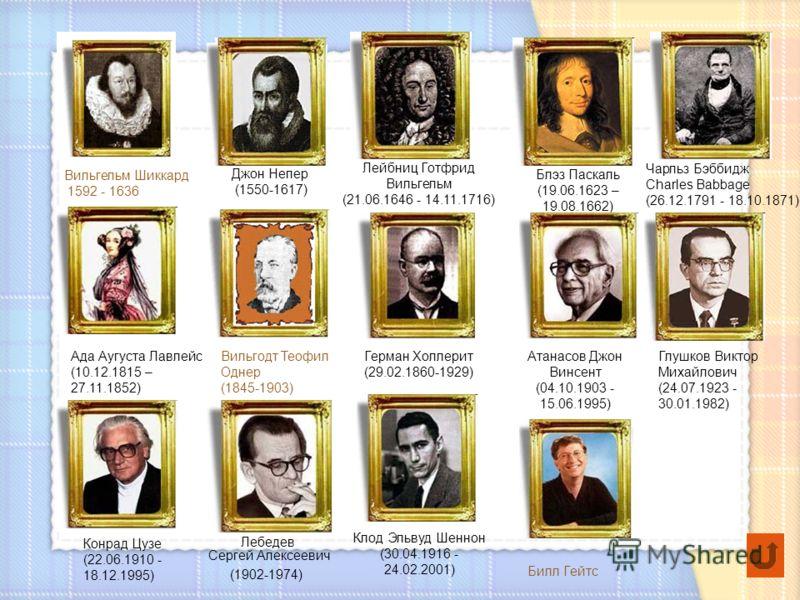 Чарльз Бэббидж Charles Babbage (26.12.1791 - 18.10.1871) Глушков Виктор Михайлович (24.07.1923 - 30.01.1982) Ада Аугуста Лавлейс (10.12.1815 – 27.11.1852) Лейбниц Готфрид Вильгельм (21.06.1646 - 14.11.1716) Блэз Паскаль (19.06.1623 – 19.08.1662) Конр