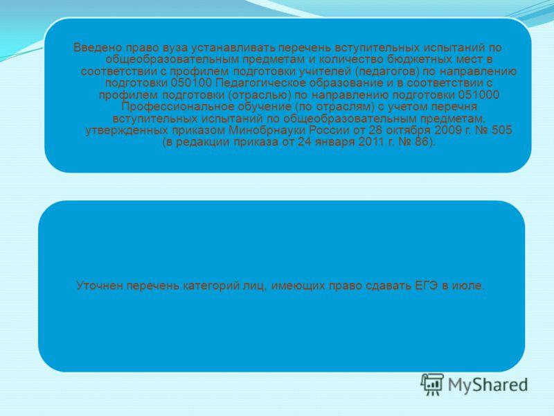 Уточнен перечень категорий лиц, имеющих право сдавать ЕГЭ в июле. Введено право вуза устанавливать перечень вступительных испытаний по общеобразовательным предметам и количество бюджетных мест в соответствии с профилем подготовки учителей (педагогов)