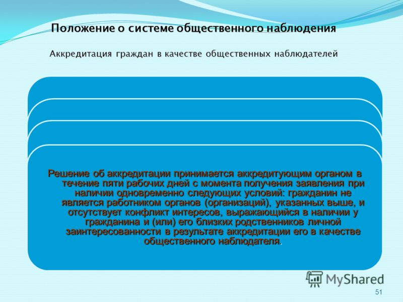 51 Положение о системе общественного наблюдения Аккредитация граждан в качестве общественных наблюдателей осуществляется по их личным заявлениям с указанием конкретного места (пункта) проведения экзамена на один или несколько экзаменов по общеобразов