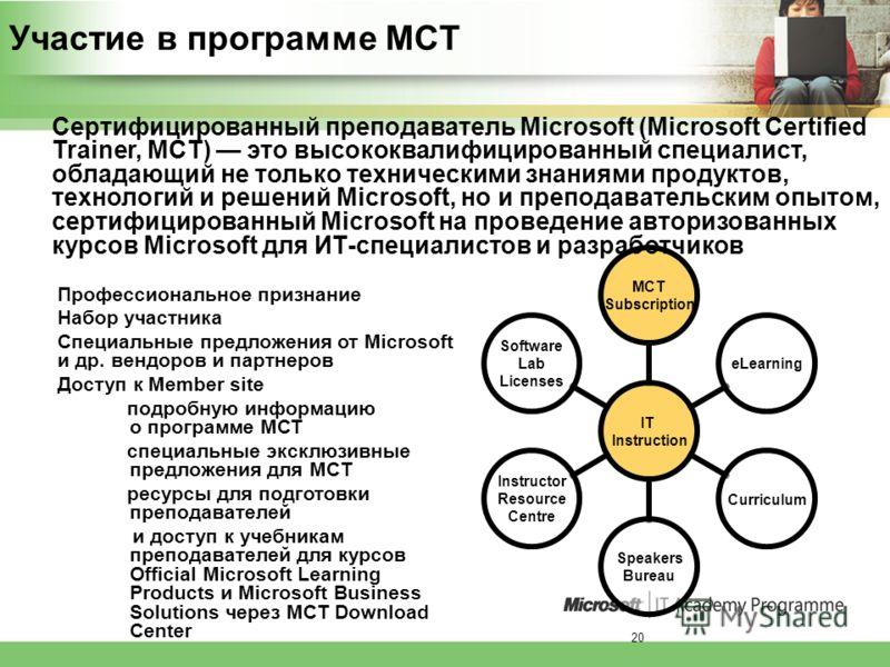 20 Участие в программе MCT IT Instruction MCT Subscription eLearningCurriculum Speakers Bureau Instructor Resource Centre Software Lab Licenses Профессиональное признание Набор участника Специальные предложения от Microsoft и др. вендоров и партнеров