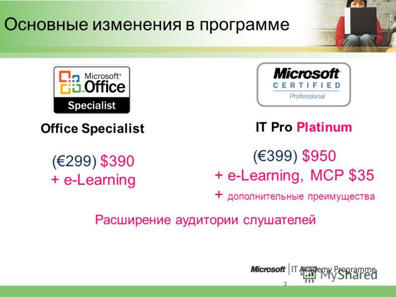 3 (299) $390 + e-Learning Office Specialist IT Pro Platinum Основные изменения в программе (399) $950 + e-Learning, MCP $35 + дополнительные преимущества Расширение аудитории слушателей