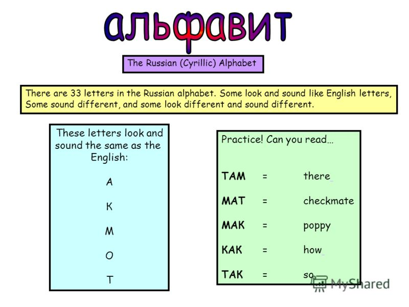 These letters look and sound the same as the English: A К М О Т Practice! Can you read… ТАМ =there МАТ =checkmate МАК =poppy КАК =how ТАК =so The Russian (Cyrillic) Alphabet There are 33 letters in the Russian alphabet. Some look and sound like Engli