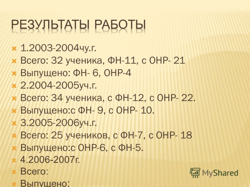 1.2003-2004чу.г. Всего: 32 ученика, ФН-11, с ОНР- 21 Выпущено: ФН- 6, ОНР-4 2.2004-2005уч.г. Всего: 34 ученика, с ФН-12, с ОНР- 22. Выпущено:с ФН- 9, с ОНР- 10. 3.2005-2006уч.г. Всего: 25 учеников, с ФН-7, с ОНР- 18 Выпущено:с ОНР-6, с ФН-5. 4.2006-2