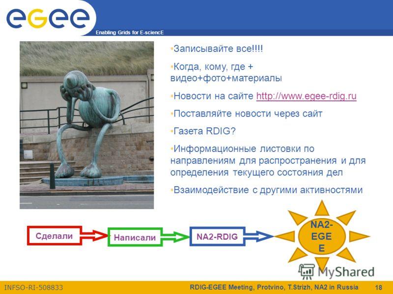 Enabling Grids for E-sciencE INFSO-RI-508833 RDIG-EGEE Meeting, Protvino, T.Strizh, NA2 in Russia 18 Записывайте все!!!! Когда, кому, где + видео+фото+материалы Новости на сайте http://www.egee-rdig.ruhttp://www.egee-rdig.ru Поставляйте новости через