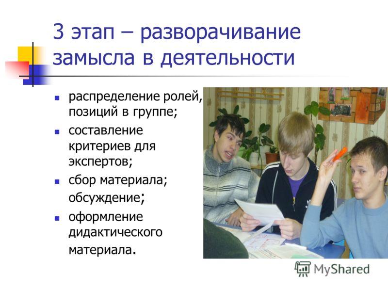 3 этап – разворачивание замысла в деятельности распределение ролей, позиций в группе; составление критериев для экспертов; сбор материала; обсуждение ; оформление дидактического материала.