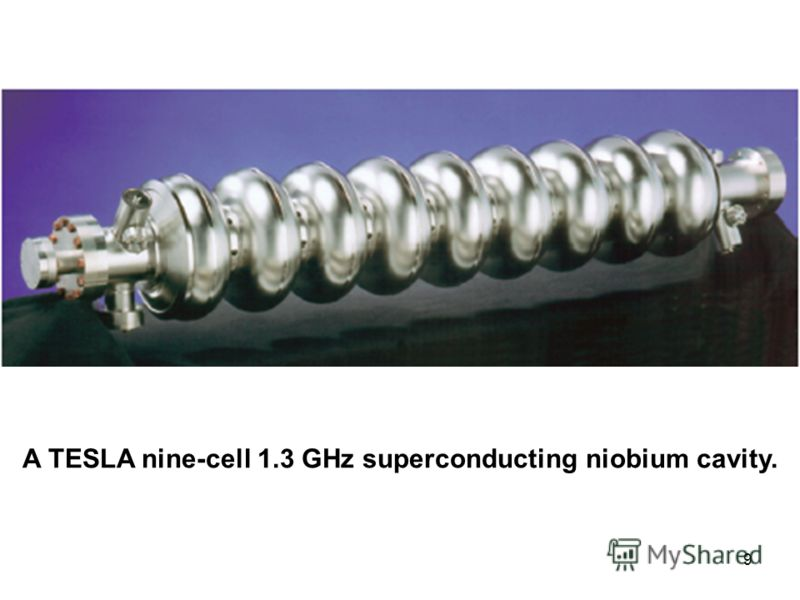 9 A TESLA nine-cell 1.3 GHz superconducting niobium cavity.