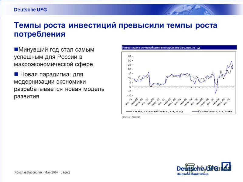 Ярослав Лисоволик · Май 2007 · page 2 Темпы роста инвестиций превысили темпы роста потребления Минувший год стал самым успешным для России в макроэкономической сфере. Новая парадигма: для модернизации экономики разрабатывается новая модель развития D