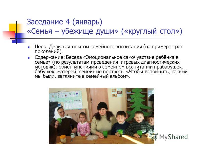 Заседание 4 (январь) «Семья – убежище души» («круглый стол») Цель: Делиться опытом семейного воспитания (на примере трёх поколений). Содержание: Беседа «Эмоциональное самочувствие ребёнка в семье» (по результатам проведения игровых диагностических ме