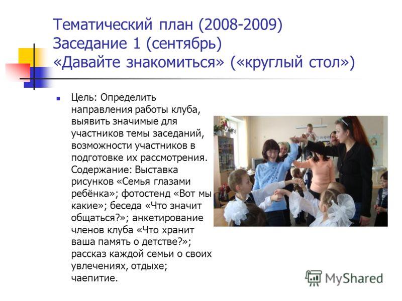 Тематический план (2008-2009) Заседание 1 (сентябрь) «Давайте знакомиться» («круглый стол») Цель: Определить направления работы клуба, выявить значимые для участников темы заседаний, возможности участников в подготовке их рассмотрения. Содержание: Вы