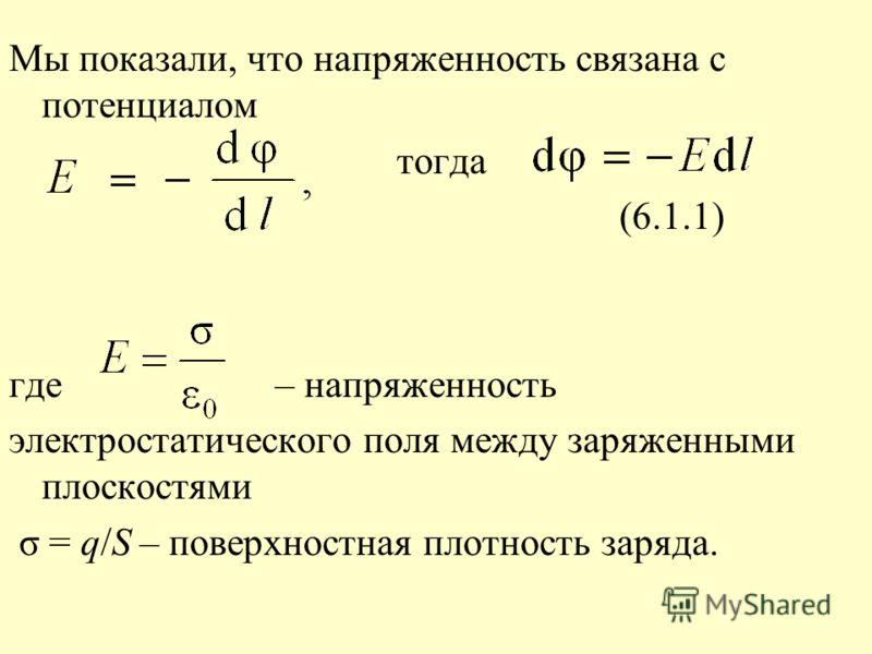Мы показали, что напряженность связана с потенциалом тогда (6.1.1) где – напряженность электростатического поля между заряженными плоскостями σ = q/S – поверхностная плотность заряда.