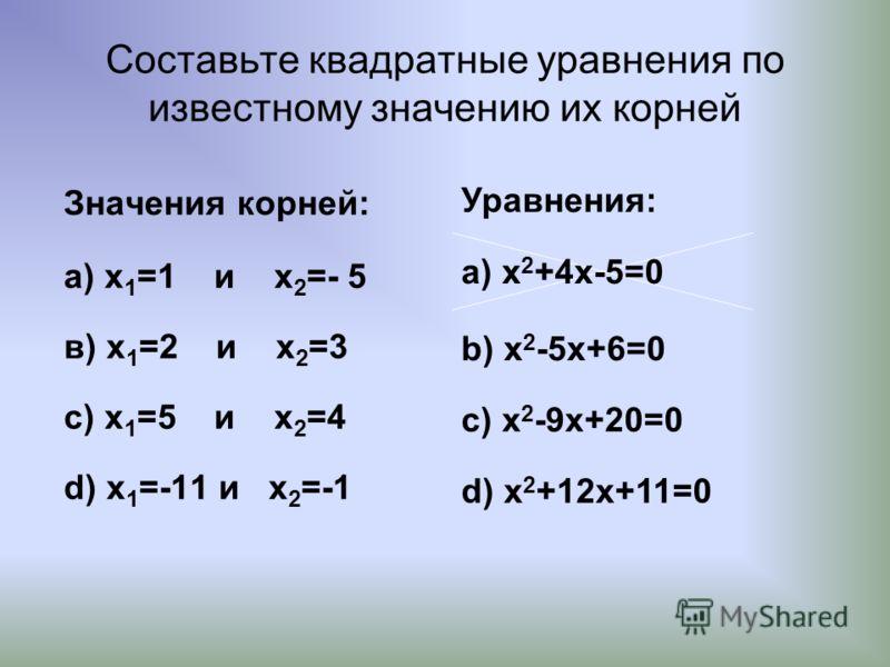 Составьте квадратные уравнения по известному значению их корней Значения корней: а) x 1 =1 и x 2 =- 5 в) x 1 =2 и x 2 =3 с) x 1 =5 и x 2 =4 d) x 1 =-11 и x 2 =-1 Уравнения: a) x 2 +4x-5=0 b) x 2 -5x+6=0 c) x 2 -9x+20=0 d) x 2 +12x+11=0