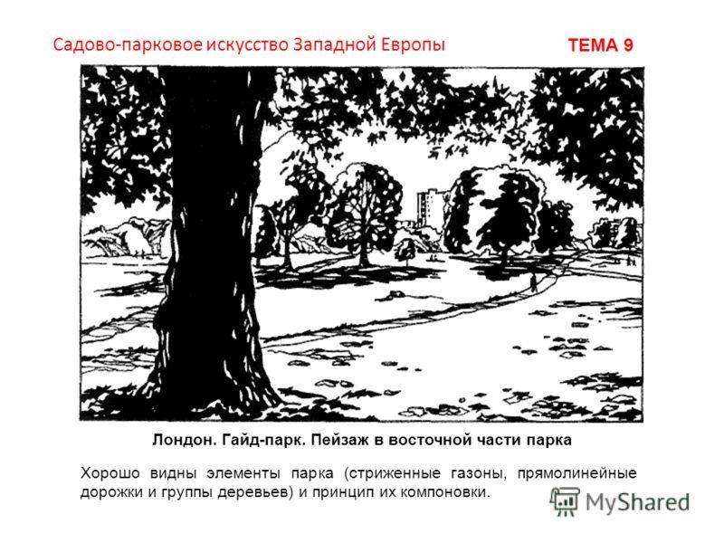 Лондон. Гайд-парк. Пейзаж в восточной части парка Хорошо видны элементы парка (стриженные газоны, прямолинейные дорожки и группы деревьев) и принцип их компоновки. Садово-парковое искусство Западной Европы ТЕМА 9