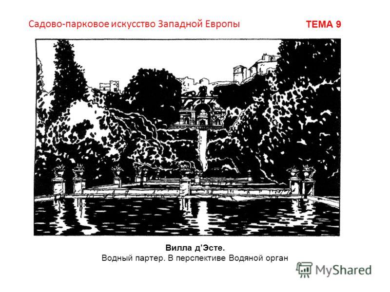 Вилла дЭсте. Водный партер. В перспективе Водяной орган Садово-парковое искусство Западной Европы ТЕМА 9