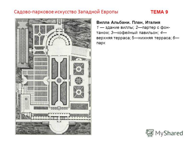 Вилла Альбани. План, Италия 1 здание виллы; 2партер с фон таном; 3кофейный павильон; 4 верхняя терраса; 5нижняя терраса; 6 парк Садово-парковое искусство Западной Европы ТЕМА 9