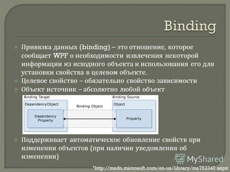 Привязка данных (binding) – это отношение, которое сообщает WPF о необходимости извлечения некоторой информации из исходного объекта и использования его для установки свойства в целевом объекте. Целевое свойство – обязательно свойство зависимости Объ