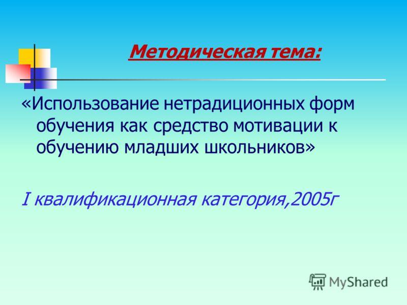 Методическая тема: «Использование нетрадиционных форм обучения как средство мотивации к обучению младших школьников» I квалификационная категория,2005г