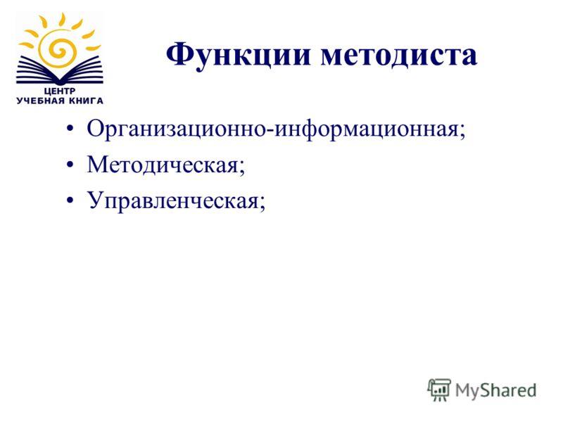 Функции методиста Организационно-информационная; Методическая; Управленческая;