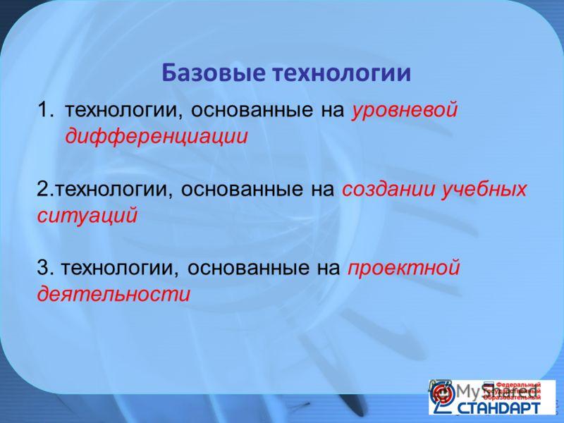 Базовые технологии 1.технологии, основанные на уровневой дифференциации 2.технологии, основанные на создании учебных ситуаций 3. технологии, основанные на проектной деятельности