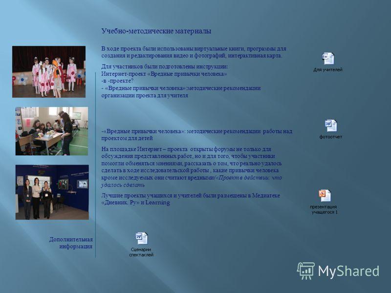 Учебно-методические материалы В ходе проекта были использованы виртуальные книги, программы для создания и редактирования видео и фотографий, интерактивная карта. Для участников были подготовлены инструкции : Интернет-проект «Вредные привычки человек